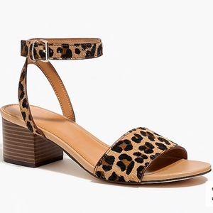 Calf hair block-heel sandals